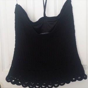 Etcetera Crochet Tied Top (black size medium) NWOT